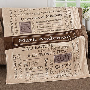 Personalized Fleece Blankets - Retirement Gifts - 17405
