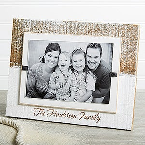 Personalized Family White Washed Genuine Beachwood Frame - Precious Family - 17412