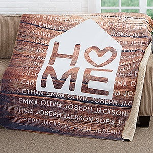 Personalized Family Sherpa Blanket - Home Is Love - 17421