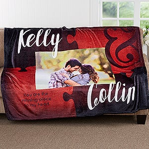 Personalized Fleece Photo Blanket - Missing Piece To My Heart - 17423