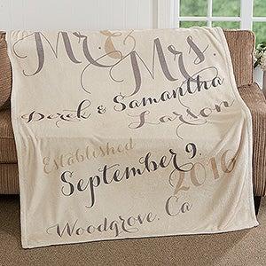 Personalized Anniversary Fleece Blanket - Mr. & Mrs. - 17424