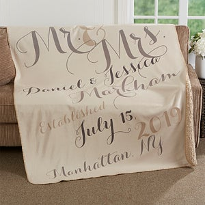 Personalized Anniversary Premium Sherpa Blanket - Mr. & Mrs. - 17425