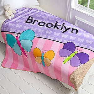 Personalized Sherpa Blanket For Girls - 4 Designs - 17430