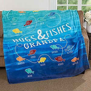 Personalized Fishing Fleece Blanket - Hugs & Fishes - 17434