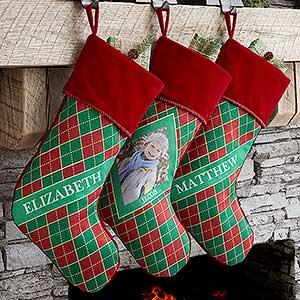 Personalized Photo Argyle Christmas Stockings - Christmas