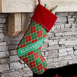 Personalized Argyle Christmas Stockings - 17442