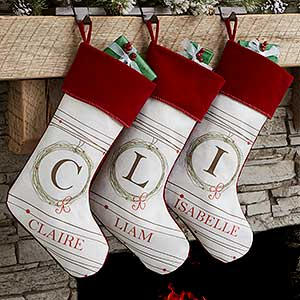 Personalized White Christmas Stockings - Holiday Wreath - 17446