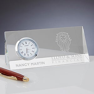 Business Logo Personalized Crystal Desk Clock - 17448