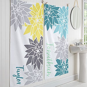 Personalized Family Flowers Bath Towel - Mod Floral - 17456