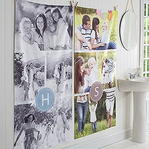 Personalized Photo Collage Bath Towel With Monogram - 17459