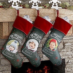 Personalized Snow Globe Photo Christmas Stocking - 17462