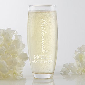 Personalized Wedding Party Stemless Champagne Flute - Bridal Brigade - 17467