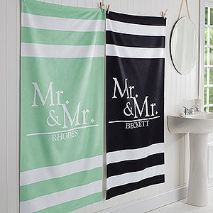 Personalized Mr and Mrs Bath Towels - Wedded Pair - 17475