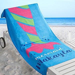 Personalized Shark and Mermaid Beach Towel - Aquatic Life - 17487