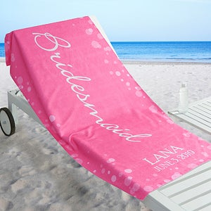 Personalized Beach Wedding Party Beach Towel - Bridal Brigade - 17491