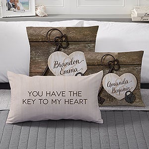 Personalized Romantic Throw Pillows - Key To My Heart - 17522