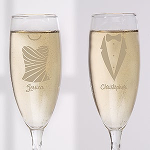 Personalized Wedding Stemless Champagne Flute Set - Wedding Attire - 17524