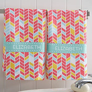 Personalized Chevron Colorful Hand Towel Set - Geometric Patterns - 17525