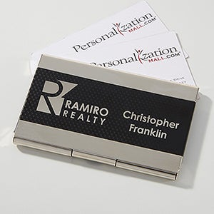 Business Logo Personalized Business Card Case - Silver - 17543