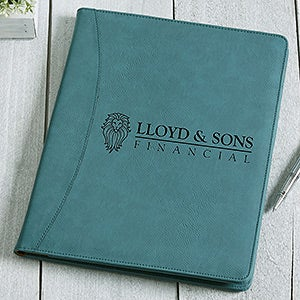 Business Logo Personalized Padfolio - Teal - 17545
