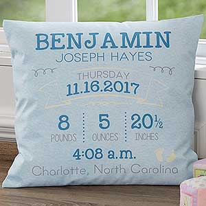 Personalized Birth Announcement Pillows - 17550