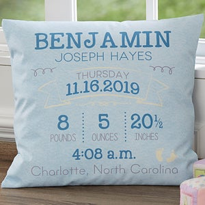 Personalized 18 birth announcement pillow baby gifts buy birth announcement pillows personalized with babys name birth date time weight and length see more baby pillows at personalizationmall negle Gallery