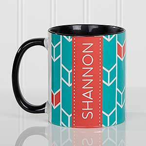 Custom Black Coffee Mug Geometric Desgins Ladies Gifts