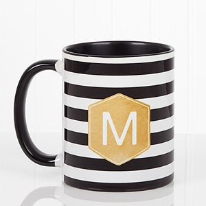 Personalized Ladies Watercolor Coffee Mugs - Modern Stripe - 17561