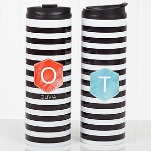 Personalized Ladies Travel Tumbler - Modern Stripe - 17563