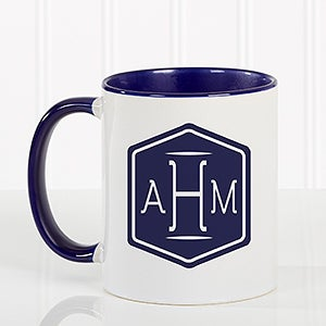Personalized Coffee Mug Classic Monogram Blue Handle