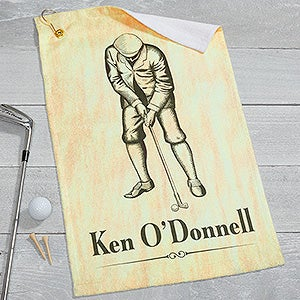 Personalized Vintage Golfer Golf Towel - 17613