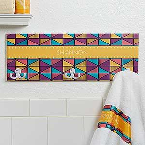 Personalized Towel Hook Racks - Geometric Designs - 17621