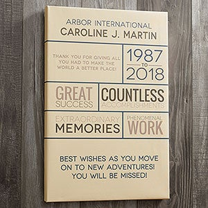 Retirement wishes 12x18 personalized canvas print office gifts buy personalized retirement wishes canvas art print a unique retirement gift for coworkers friends or family free personalization fast shipping negle