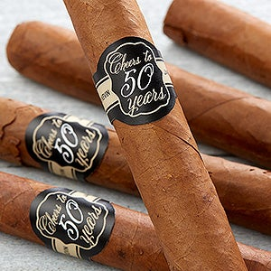Personalized Anniversary Cigar Labels - Cheers To Then & Now - 17645