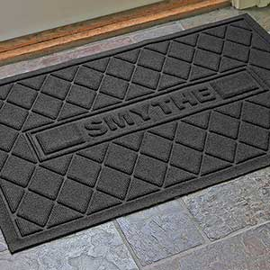 Personalized Family AquaShield™ Molded Doormat  - Argyle Family - 17652D