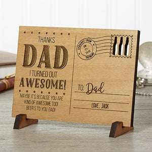 Sending Love To Dad Personalized Natural Wood Postcard