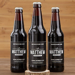 Personalized Groomsman Beer Bottle Labels & Bottle Carrier - Will You Be My Groomsman? - 17669