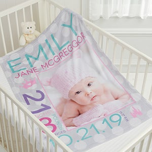 Personalized photo baby blankets for girls baby gifts buy personalized fleece baby blankets for girls add babys name birth date and other details including photos see more personalized baby blankets at negle Choice Image