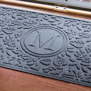 Personalized AquaShield Doormat - Falling Leaves Monogram - 17703D