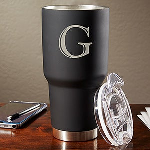Personalized 30 Oz. Stainless Steel Initial Travel Mug - 17753
