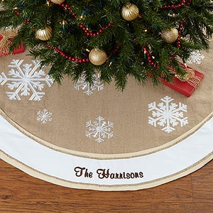 Custom Embroidered Burlap Tree Skirt - Rustic Chic - 17776