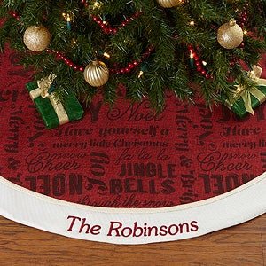 Embroidered Winter Melody Christmas Tree Skirt - 17777