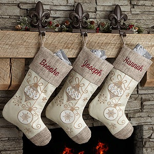 Personalized Elegant Charm Natural Christmas Stockings - 17778