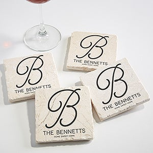 Personalized Initial Tumbled Stone Coaster Set - Initial Accent - 17785