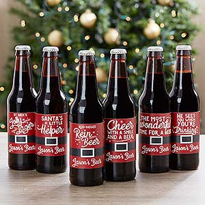 Personalized Holiday Beer Bottle Labels & Carrier - 17787