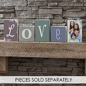 Personalized Square Shelf Blocks - Letter Decor - 17798
