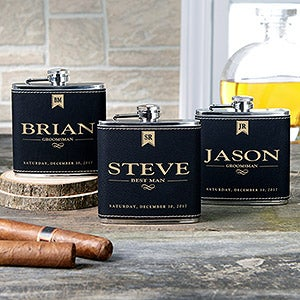 Personalized Black Leather Flask For Groomsman - Wedding Party - 17814