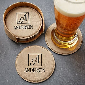 Personalized Square Monogram Coasters - 5pc Set - 17815