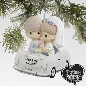 Personalized Just Married Christmas Ornament - Wedding Car