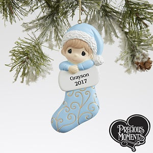 Personalized Precious Moments Ornament for Baby Boy - Christmas Gifts